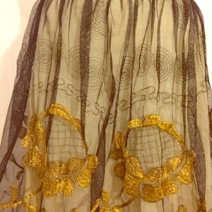 Free People Black Mesh Gold Embroidery Mod Skirt 2